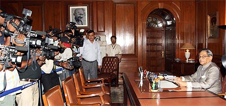 External Affairs Minister SM Krishna at his South Block office in New Delhi