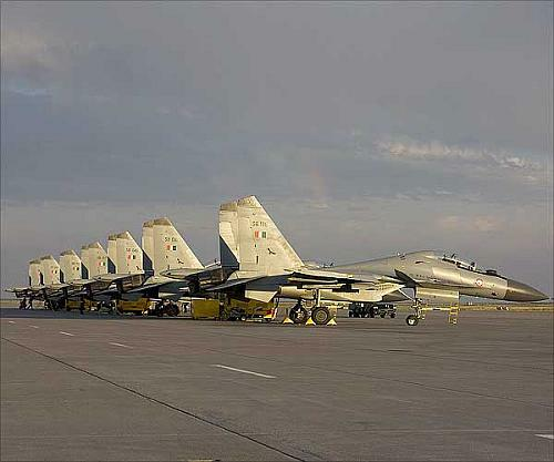 SU-30 MKI Flankers on stand by prior to launching for the night missions