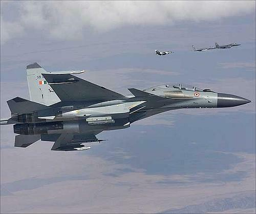 India's top of the line fighter prepares to intercept three US Air Force fighter jets in a simulated air war