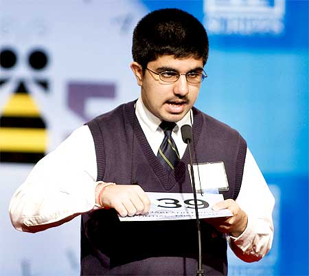 Speller Sidharth Chand, 13, of Pontiac, Michigan, takes part in the semi-final round of the 2009 National Spelling Bee in Washington