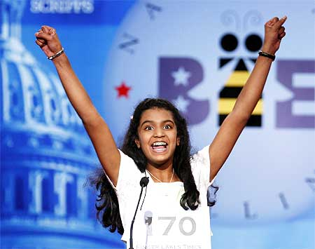 Speller Neetu Chandak from Seneca Falls, New York  reacts to spelling her word correctly in the final round of the 2009 National Spelling Bee in Washington