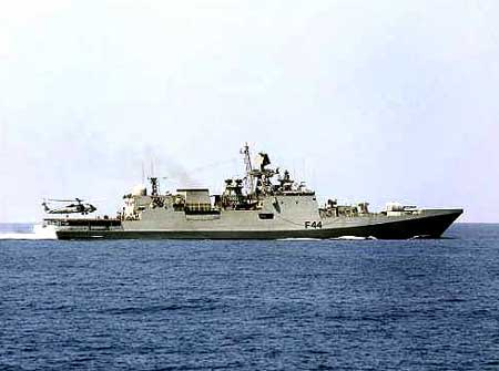 A file photo of the INS Tabar, which is taking on Somali pirates in the Gulf of Aden