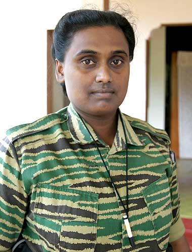 Thamilini with a cyanide capsule dangling in her neck. A file picture