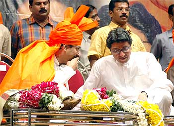 Uddhav and Raj Thacekray before they split at a Shiv Sena  gathering at Shanmukhananda Hall, Mumbai