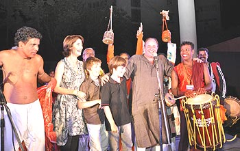 William Dalrymple at the Delhi launch of Nine Lives with his wife Olivia, sons Sam and Adam and the musicians who accompanied the theyyam dancer