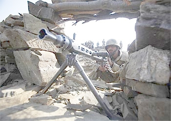 A Pakistani soldier during an army operation in South Waziristan