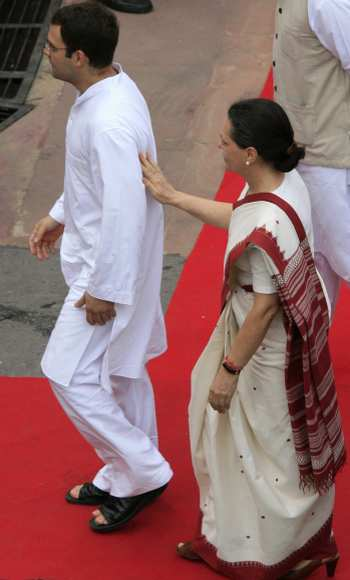 Congress chief Sonia Gandhi with son Rahul