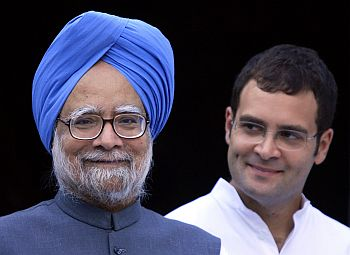 Prime Minister Manmohan Singh with Congress General Secretary Rahul Gandhi