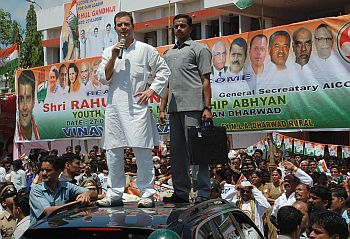 Rahul addresses a gathering in Dharwad, Karnataka