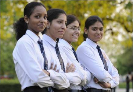 Graduating girls from an international school in India.