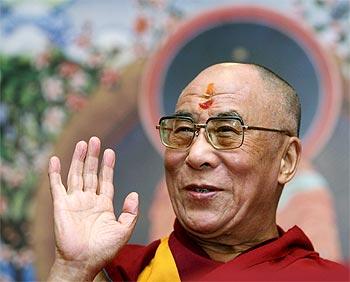 The Dalai Lama at a news conference.