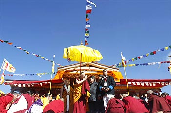 The Dalai Lama arrives to deliver Buddhist teachings at Tawang