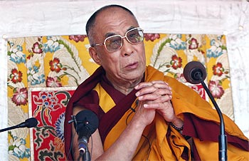 Tibetan spiritual leader the Dalai Lama delivers Buddhist teachings at Tawang in Arunchal Pradesh