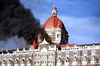 The Taj hotel on fire on November 27, 2008.