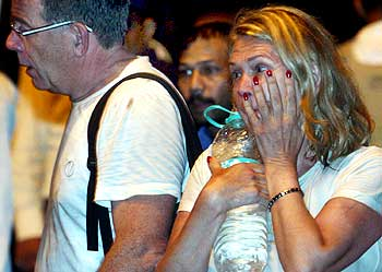 Foreign guests rescued from the Taj hotel in Mumbai on November 27, 2008.