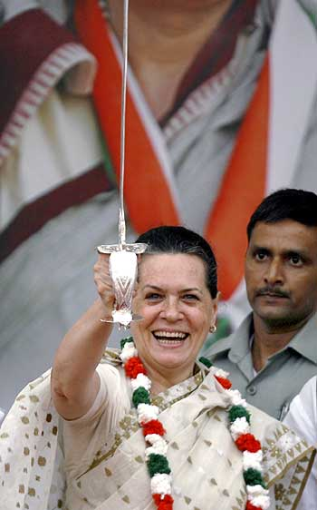 Congress chief Sonia Gandhi during an election rally in Maharashtra.