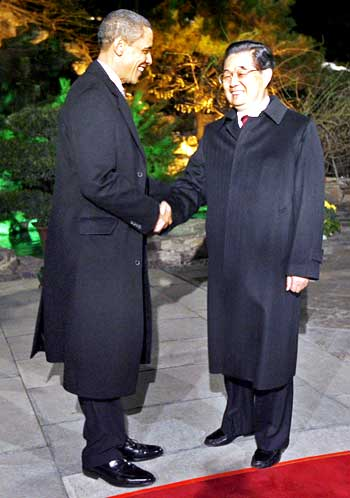 US President Barack Obama with China's President Hu Jintao at the Diaoyutai State Guest House
