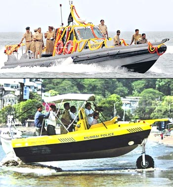 The new amphibious boats on display