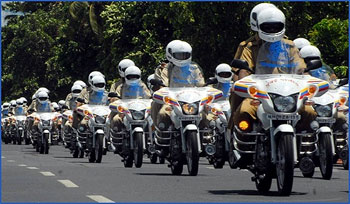 The Mumbai police's newly acquired motorcycles