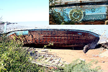 A Pakistani boat caught by Indian security agencies lying abandoned at Koteshwar.