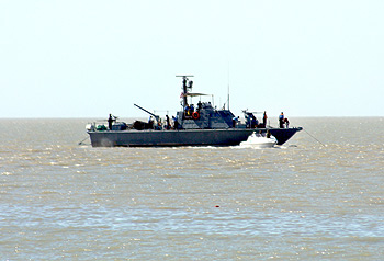 A naval ship off the coast of Koteshwar.