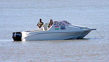 BSF commandos in speedboat about to go out on patrol.