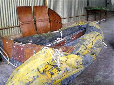 The rubber dinghy the terrorists used to get ashore.