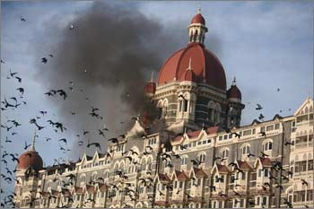 Pigeons fly near the burning Taj Mahal hotel.