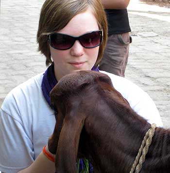 Naomi plays with a calf during her trip to India.
