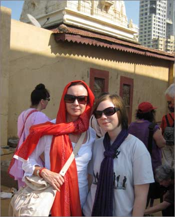 Helen Connolly with Naomi Scherr in a photograph taken on the India trip before Naomi's death on 26/11.