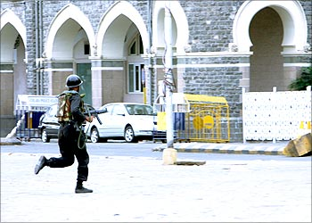A commando outside Taj hotel during the attacks