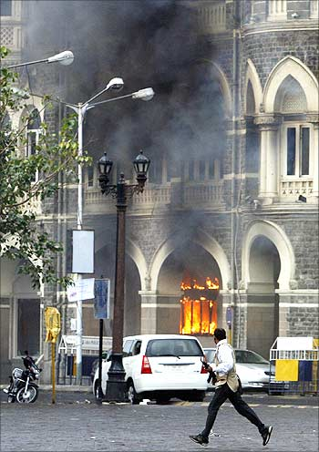 A burning Taj hotel on November 29, 2008