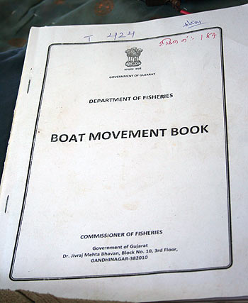 The Boat Movement Book issued by the fisheries commissioner to all the tandels in Jakhau.