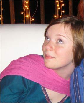 Naomi Scherr, 13, during the India trip.