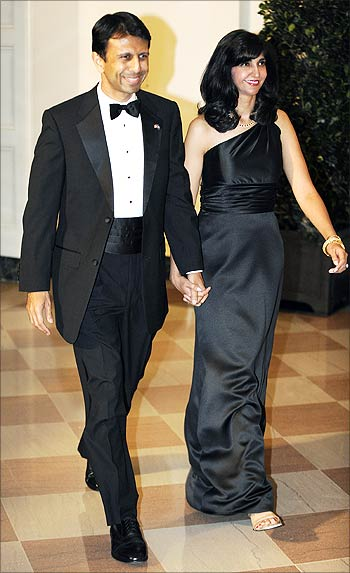 Louisiana Governor Bobby Jindal and wife Supriya arrive at the PM's state dinner