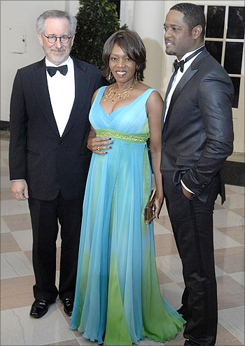 (From left) Steven Spielberg, Alfre Woodard and Blair Underwood at the PM's dinner