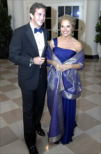 CBS news anchor Katie Couric (right) with Brooks Perlin