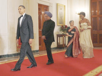 President Barack Obama, Dr Manmohan Singh, Michelle Obama and Gursharan Kaur at the State dinner the American president hosted for the Indian prime minister in November 2009.