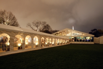 The giant tent on South Lawn for the state dinner