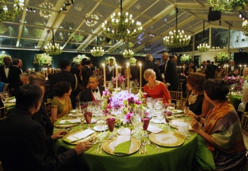 A general view of the tables and guests during the state dinner