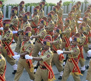 The Maharashtra State Reserve Police force marches along Marine Drive