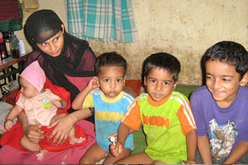 Moumina Khatoon and her four children. Her husband Umar was a taxi driver who died on 26/11.