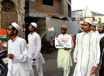 A group of Muslims takes out a march seeking the hanging of Kasab, the lone surviving terrorist