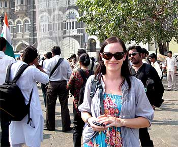 Julie Moorhause outside the Taj