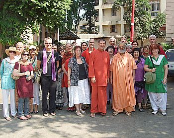 Master Charles, centre, with his disciples in Mumbai prior to the attacks.
