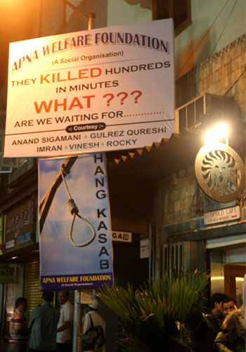 A banner asking for Kasab to be hanged outside the Leopold Cafe