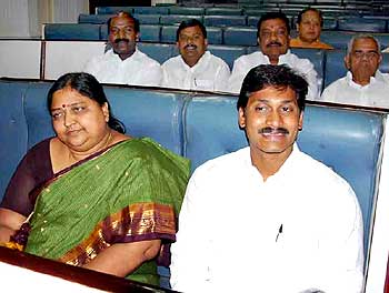 Jagan Reddy and his mother at the function
