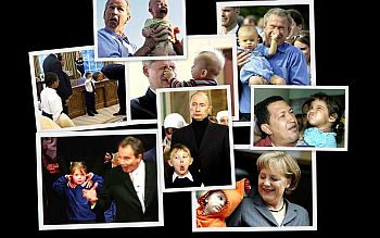 A collage shows politicians being given a rough time by kids
