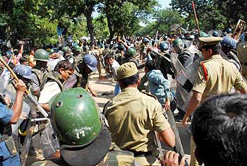 Cops resorted to lathicharge on Sunday