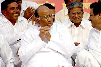 Sharad Pawar in a pensive mood during an election rally in Satara in April